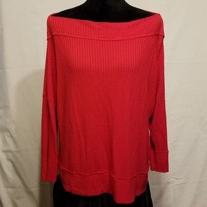 Lucky Brand Soft Red Stretchy Wide Neck Blouse